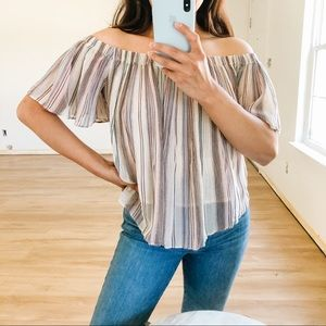 BP multicolor striped off shoulder blouse